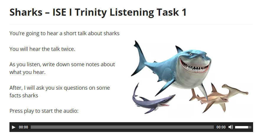 ISE I Trinity Listening Exam Independent Listening Task example B1