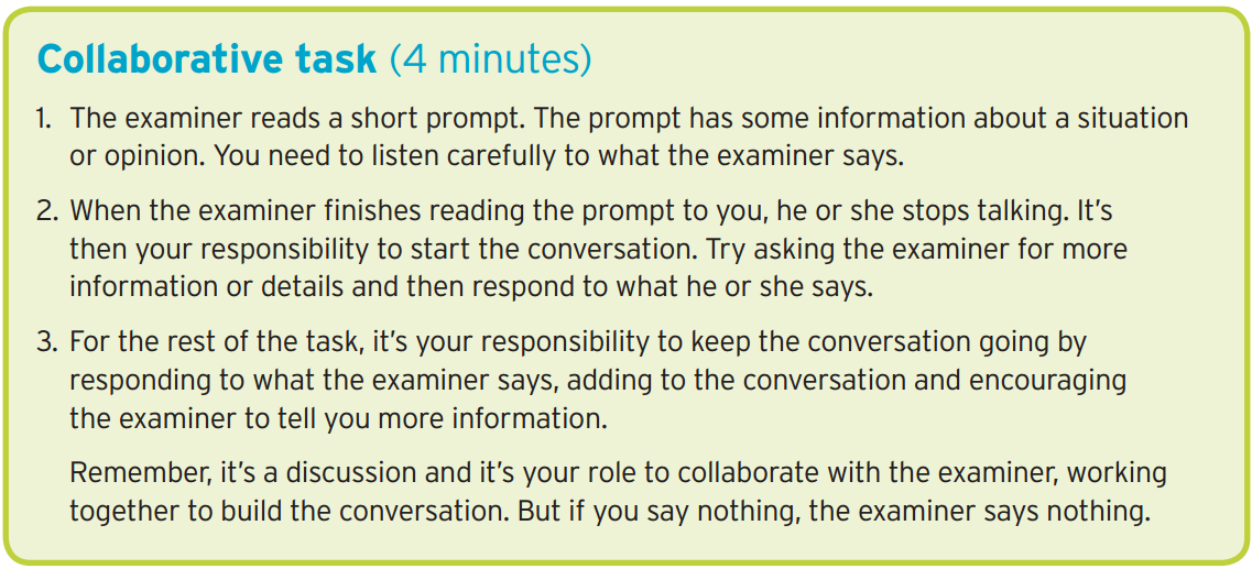 ISE II Trinity speaking exam - Collaborative Task Part 3
